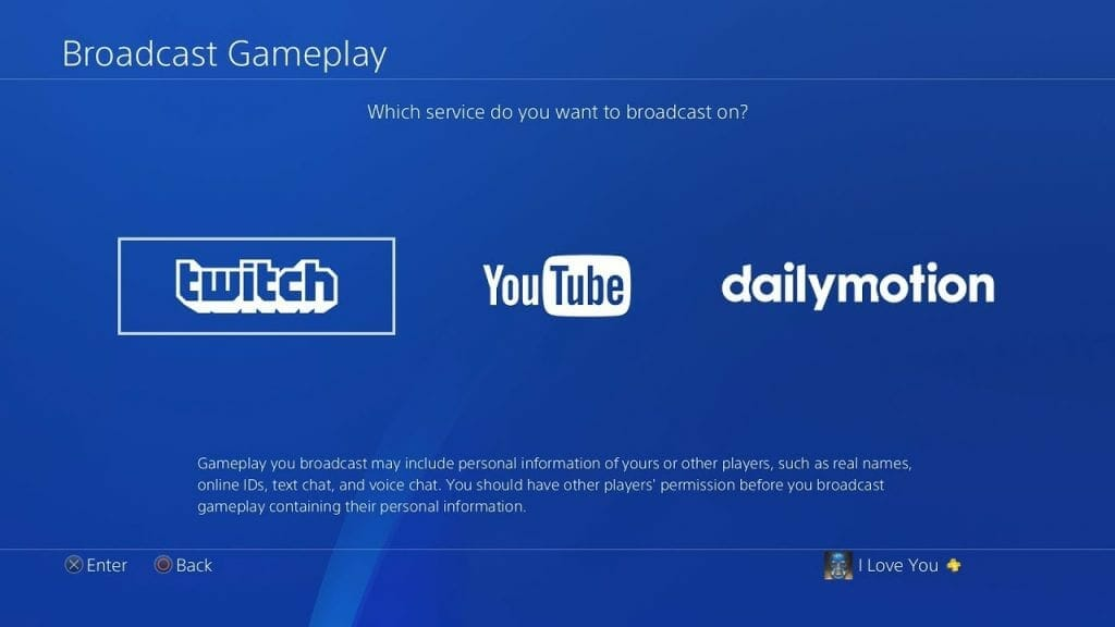 PS4 Streaming options